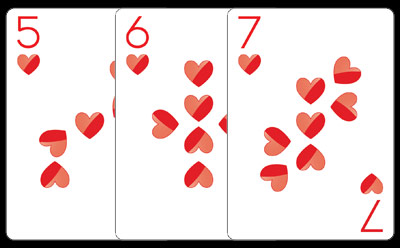 Only one of the most beautiful five, six and seven of hearts you'll see today. No big deal.
